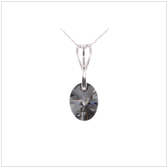 Swarovski Element Oval Necklace - Silver Night