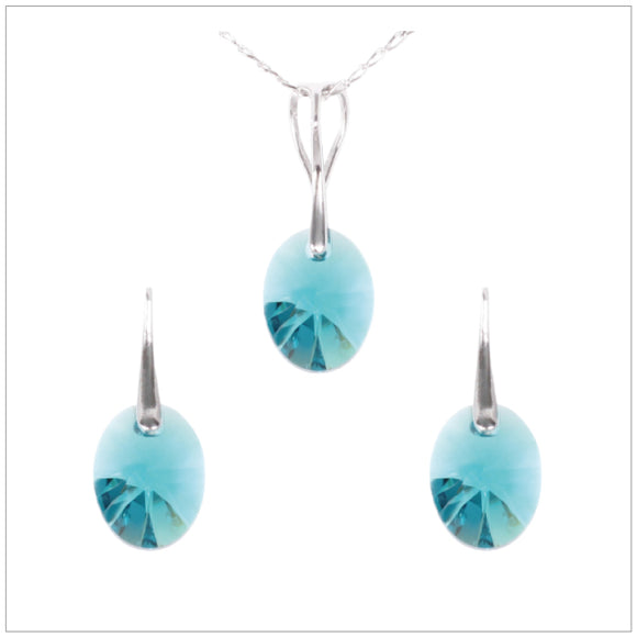 Swarovski Element Oval Set - Indicolite