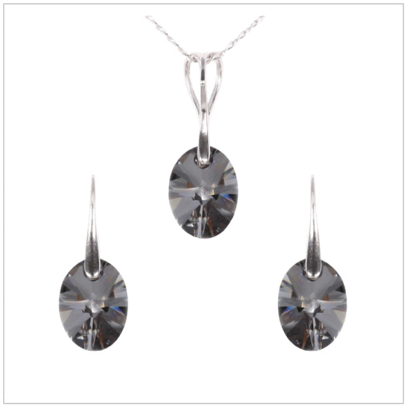 Swarovski Element Oval Set - Silver Night