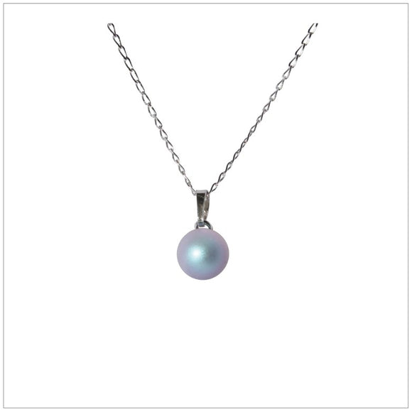 Swarovski Element Pearl Necklace - Iridescent Pearl Light Blue