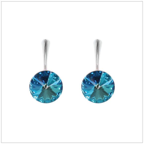 Swarovski Element Rivoli Earrings - Bermuda Blue - swarovski jewellery south africa kcrystals
