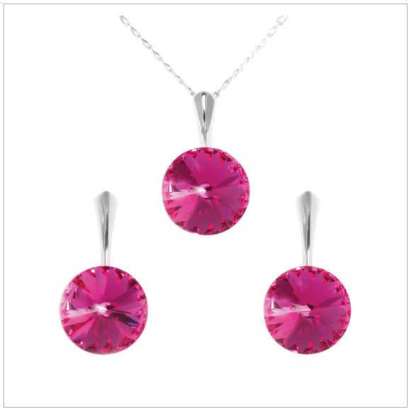 Swarovski Element Rivoli Set - Fuchsia - swarovski jewellery south africa kcrystals