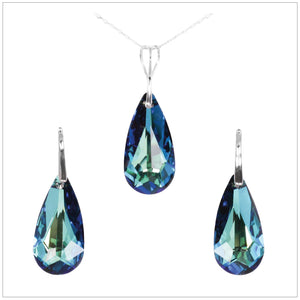 Swarovski Element Tear Set - Bermuda Blue - swarovski jewellery south africa kcrystals