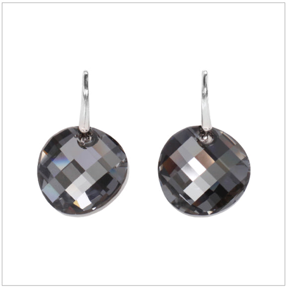 Swarovski Element Twist Jet Earrings - Silver Night - swarovski jewellery south africa kcrystals