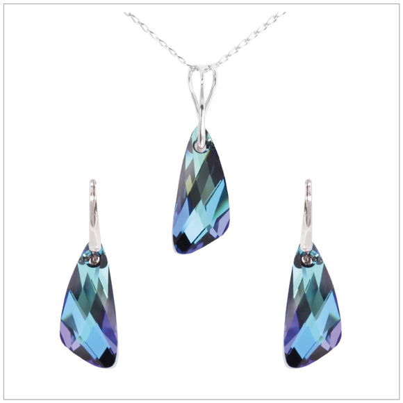 Swarovski Element Wing Set - Bermuda Blue - swarovski jewellery south africa kcrystals