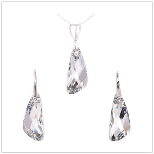 Swarovski Element Wing Set - Chrome/Labrador - swarovski jewellery south africa kcrystals