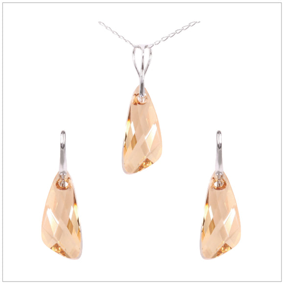 Swarovski Element Wing Set - Golden Shadow - swarovski jewellery south africa kcrystals