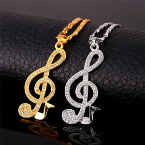 Treble Clef and Note Pendant and Necklace