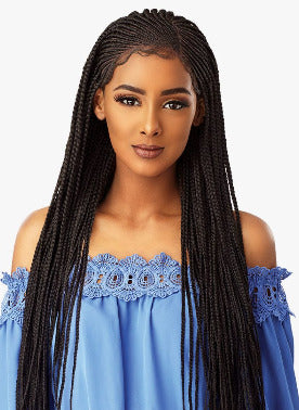 100% SYNTHETIC HAND BRAIDED LACE WIG SIDEPART CORNROW, 29,5""