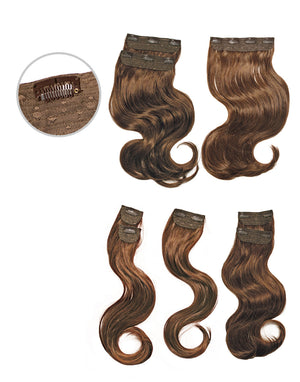 100% SYNTHETIC CLIP-IN EXTENSIONS WAVY 8 PCS, 20""