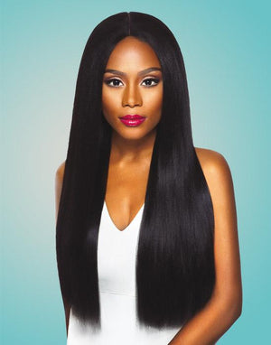 100% Synthetic Lace Front Wig  Yaki 4-Way Parting