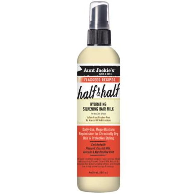 AUNT JACKIES CURLS & COILS FLAXSEED RECIPES HALF & HALF HYDRATING SILKENING HAIR MILK, 355 ML