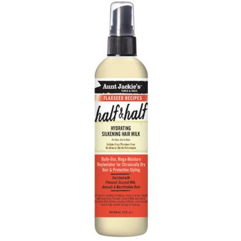 AUNT JACKIES CURLS & COILS FLAXSEED RECIPES HALF & HALF HYDRATING SILKENING HAIR MILK, 355 ML - Visons Hair & Cosmetics Butik