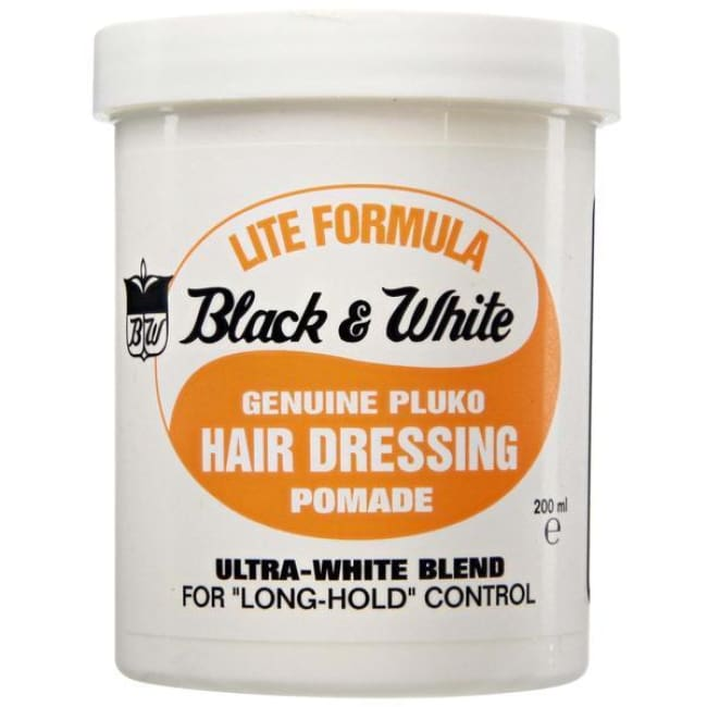 BLACK & WHITE - GENUINE PLUKO HAIR DRESSING POMADE ULTRA-WHIE BLEND, 200 ML - Visons Hair & Cosmetics Butik