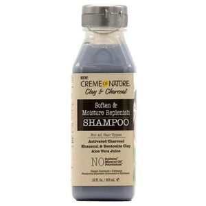 CREME OF NATURE CLAY & CHARCOAL SOFTEN & MOISTURE REPLENISH SHAMPOO, 355 ML