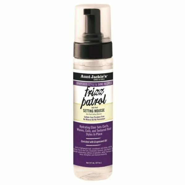 AUNT JACKIES GRAPESEED FRIZZ PATROL ANTI-POOF TWIST & CURL SETTING MOUSSE, 237 ML