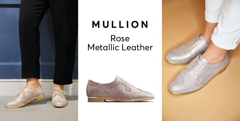 Mullion rose gold leather