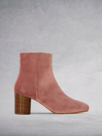 Abstract Dusty Rose Velvet - Chic ankle boot with a cylindrical heel.