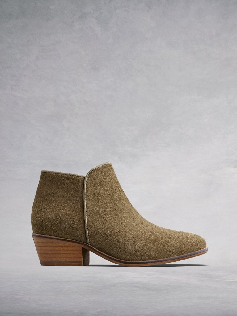 The Albus, the simple yet stylish low cut camel suede ankle boot.