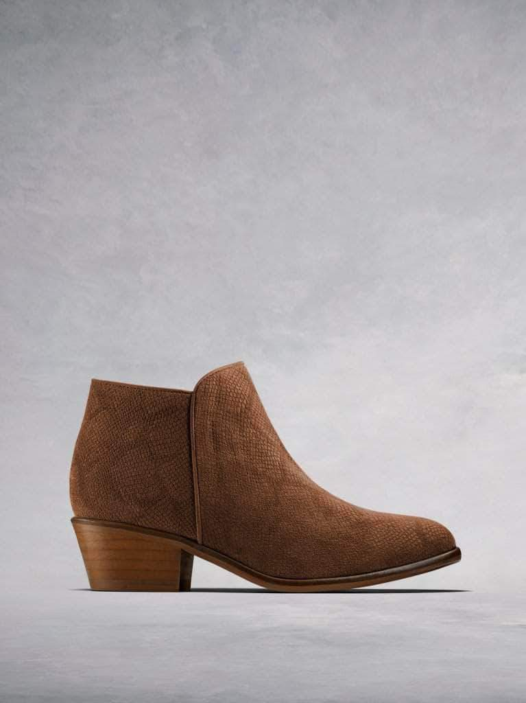 Albus, the simple yet stylish low cut lizard embossed tan suede ankle boot.