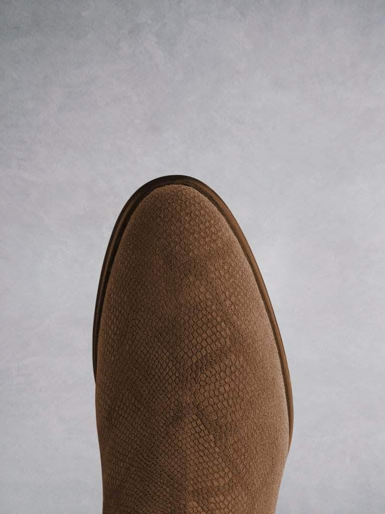 Albus lizard embossed tan suede is very versatile and has an almond toe.