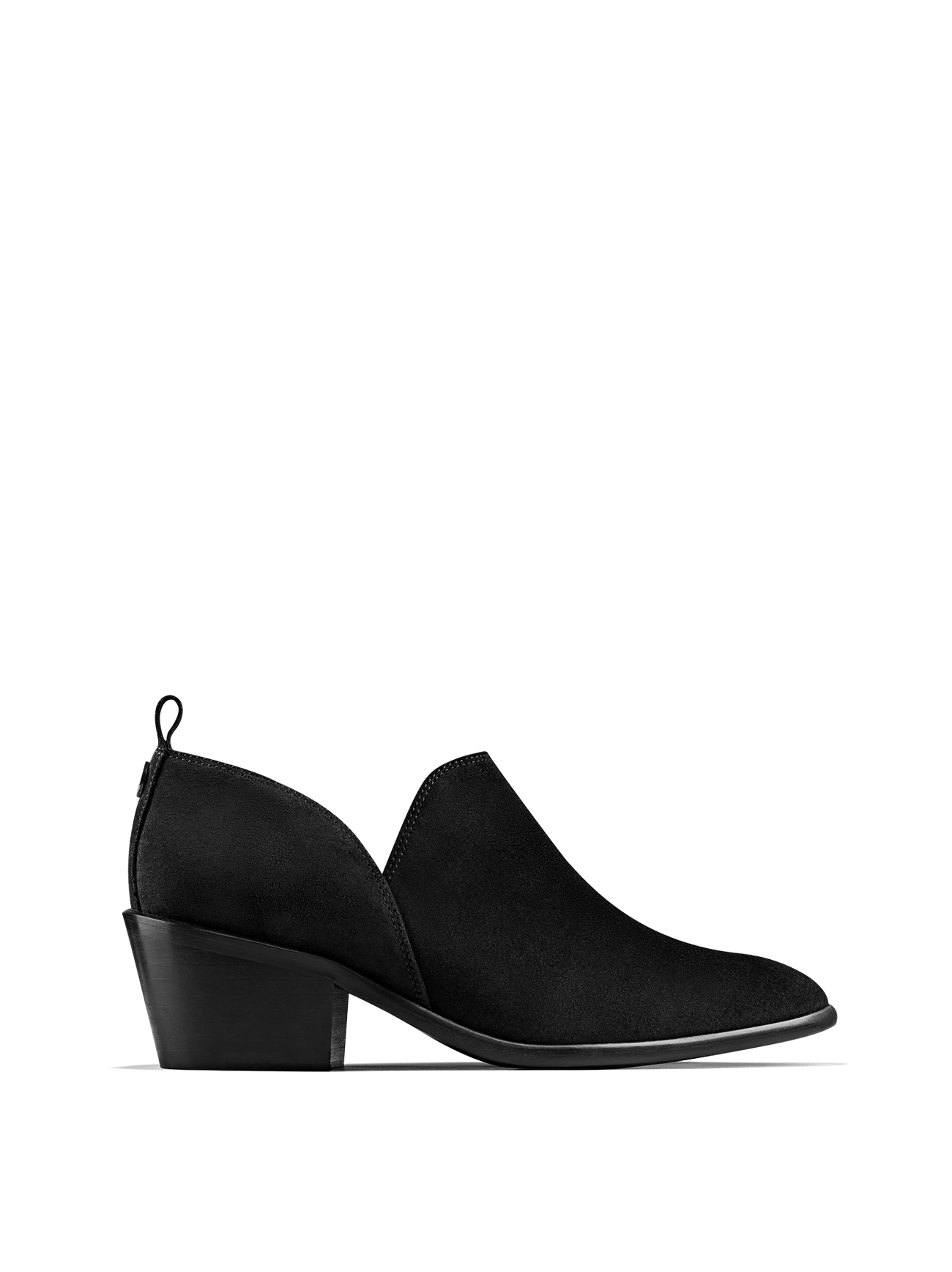 Avalon, a stylish shoe bootie slip on, in soft black suede.