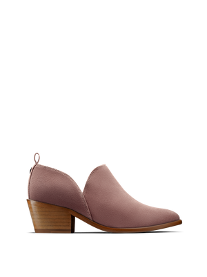 Avalon, a stylish shoe bootie slip on, in soft pink suede.