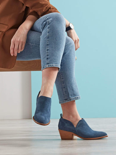 Avalon, an easy to wear shoe bootie in blue, with a comfy mid-height block heel.