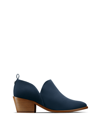 Avalon, a stylish shoe bootie slip on, in soft blue suede.