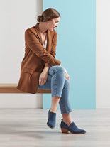 Avalon, our jeans blue suede shoe bootie is perfect for stylish workwear.