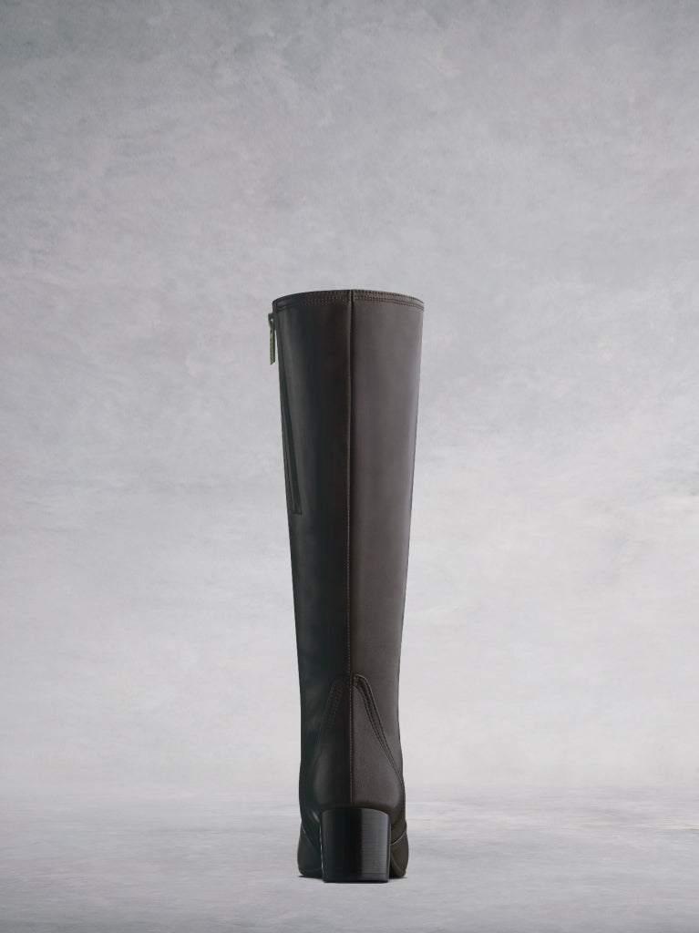 Aversley Brown Leather - Simple, classic knee high boots with square toe.