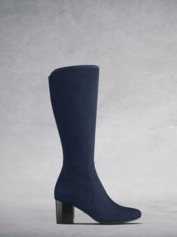 The Avocet, a knee high navy soft suede boot with a block heel.