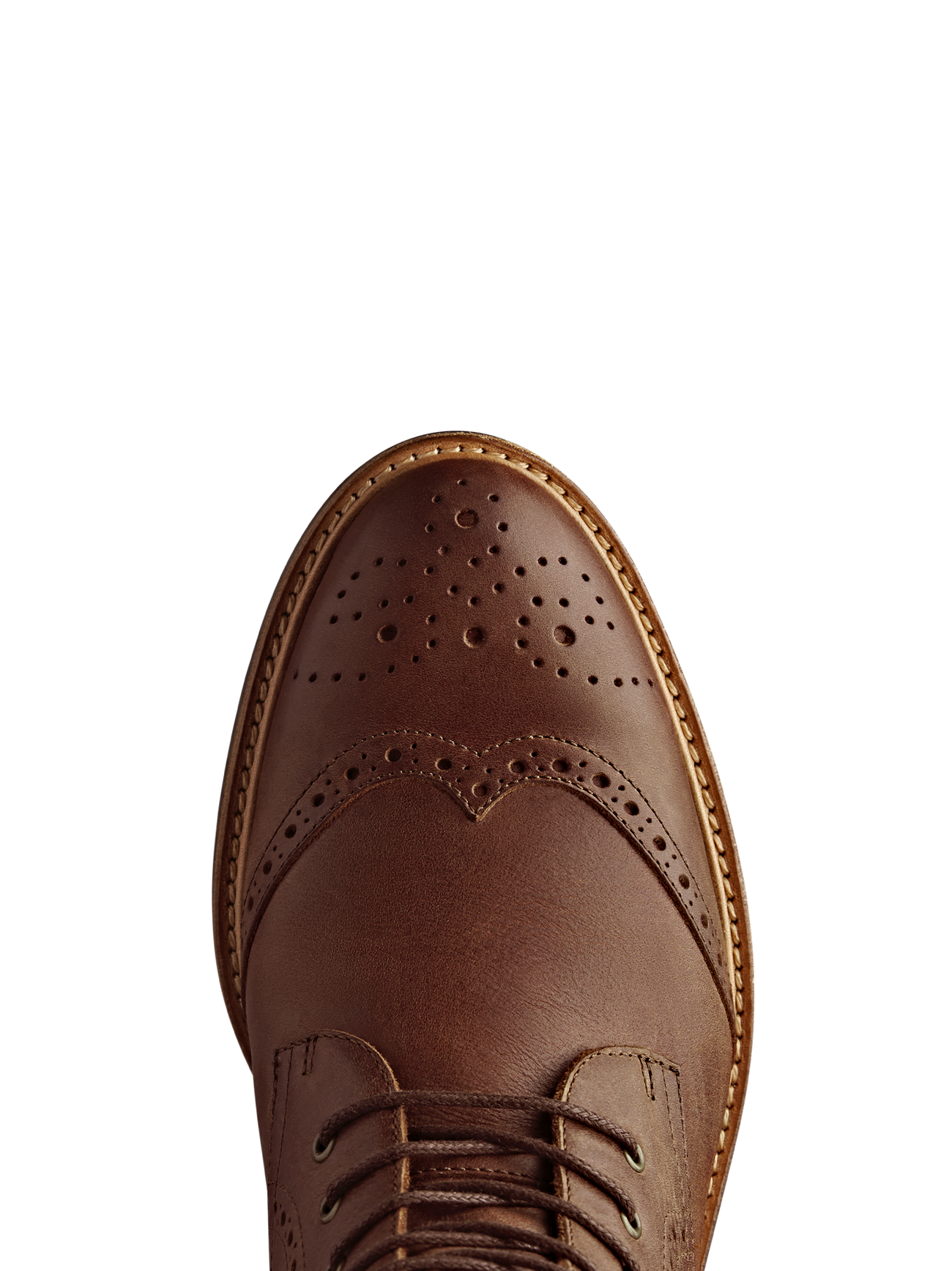 Balla chestnut has beautiful brogue detailing over the round shaped toe.
