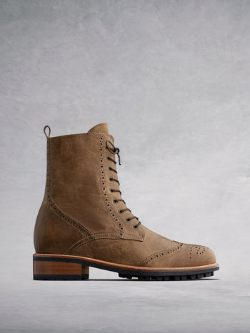 Balla Tan Leather - Classic brogue lace up ankle boots.