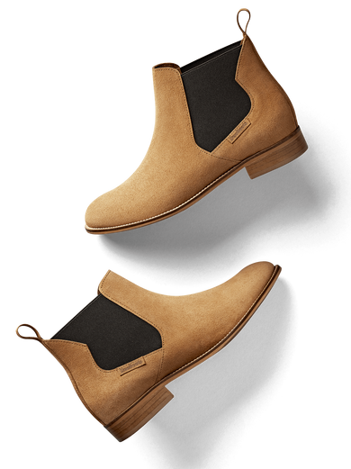 Berkley; a contemporary Chelsea boot with abstract shaped side panel features.