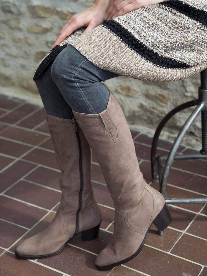Our luxe Italian taupe nubuck knee high boot has a beautifully shaped topline.