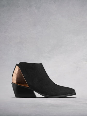 Buell Black Suede - Metallic ankle boots with an angular heel.