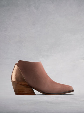 Buell Blush Pink Suede - Low-heel versatile ankle boots.