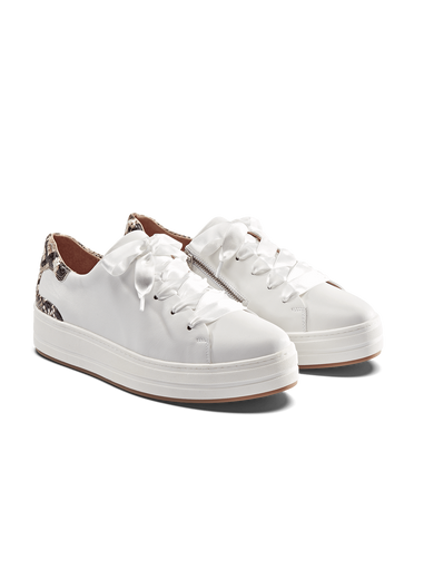 Churston, a white flatform trainer with a snake print heel and cushioned insole.