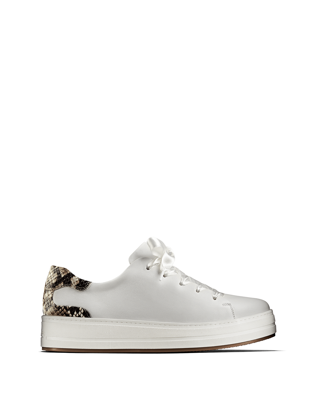Churston, a white flatform trainer with a snake print heel and choice of laces.