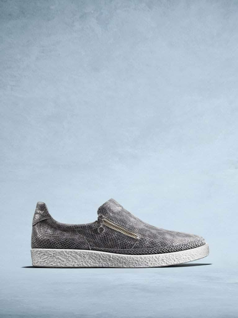 Crantock is our go-to slip on trainer in silver snake embossed leather.