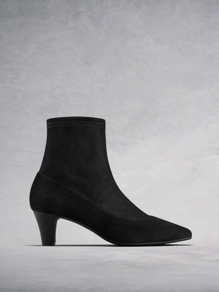 The Dalby, our on-trend sleek sock ankle boot in stretchy black suede.