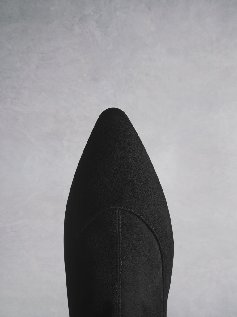 Dalby Black Suede; the elegant pointed toe shape complements the low narrow heel.