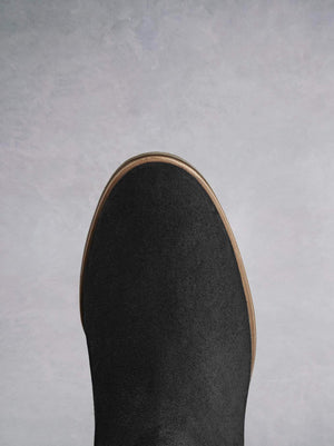 Darwin Black Suede And Leopard Hair Leather - Statement Chelsea boot with round toe.