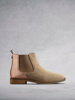The Darwin, a versatile camel suede Chelsea ankle boot with an edge.