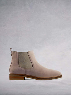 The Darwin, a stylish pink suede Chelsea ankle boot with a contrast sole.