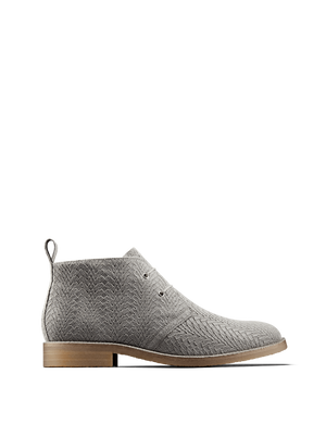 Delmore is a versatile desert boot in grey embossed suede with elasticated laces.