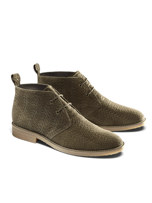 Delmore is a versatile desert boot in khaki embossed suede with elasticated laces.