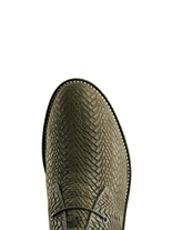 Delmore in khaki embossed suede has elasticated laces for an easy slip on boot.