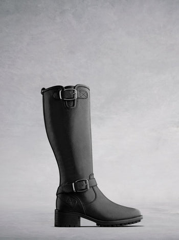Demeter Black Leather - Classic, knee-high, leather biker boots.